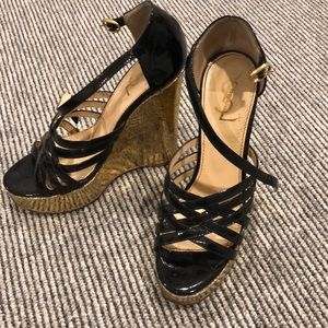 YSL gold platform wedge size 37